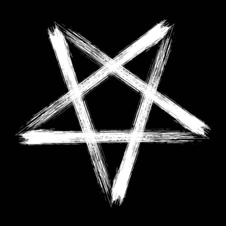 Reversed pentagram icon, brush drawing magic occult star symbol. Vector illustration in white isolated over black.