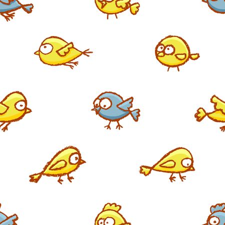 Cute little hand drawn birds seamless pattern. Cartoon vector background with funny yellow and blue birds over white.