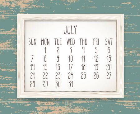 July year 2019 vector monthly calendar. Week starting from Sunday. Hand drawn text in a wooden frame over rustic distressed teal wood background.