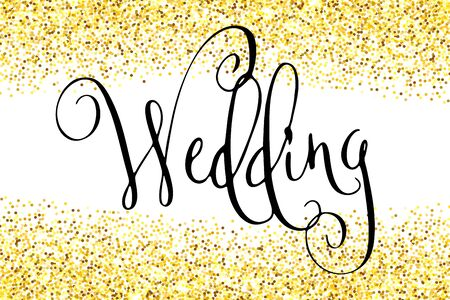Wedding word. Hand written vector design element in black over shiny golden glitter confetti. Traditional calligraphy.  イラスト・ベクター素材