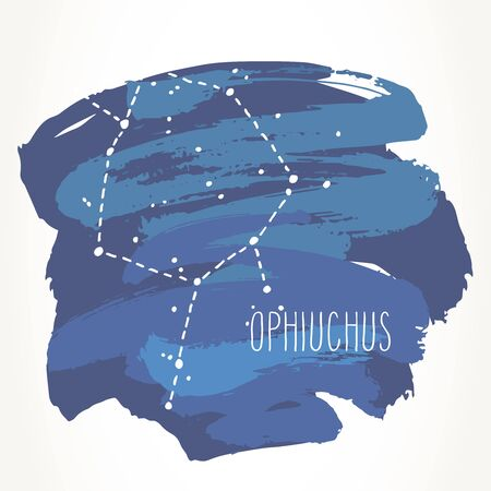 Ophiuchus hand drawn Zodiac sign constellation over blue paint strokes. Vector graphics astrology illustration. Western horoscope mystic symbol isolated over white. Ilustração