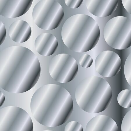 Silver diagonal gradient circles seamless pattern. Abstract modern vector background. Shiny metal endless wallpaper.