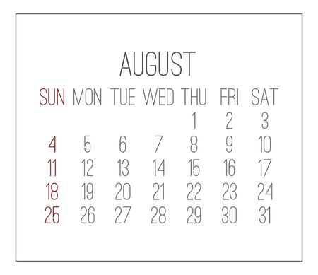 August year 2019 vector monthly calendar. Week starting from Sunday. Plain white contemporary design.