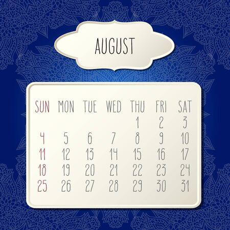 August year 2019 vector monthly calendar over dark blue doodle ornate hand drawn floral background, week starting from Sunday. Beige beveled frames design. Ilustração