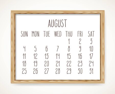 August 2019 vector monthly calendar. Week starting from Sunday. Hand drawn text in a wooden frame isolated over white background.