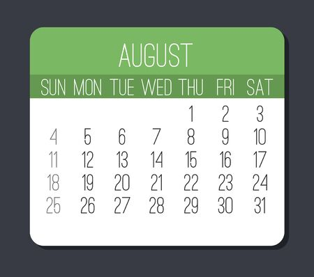 August year 2019 plain contemporary vector monthly calendar. Week starting from Sunday. Modern green and white design over gray background.