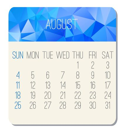 August year 2019 vector monthly calendar. Week starting from Sunday. Contemporary low poly design in blue color.