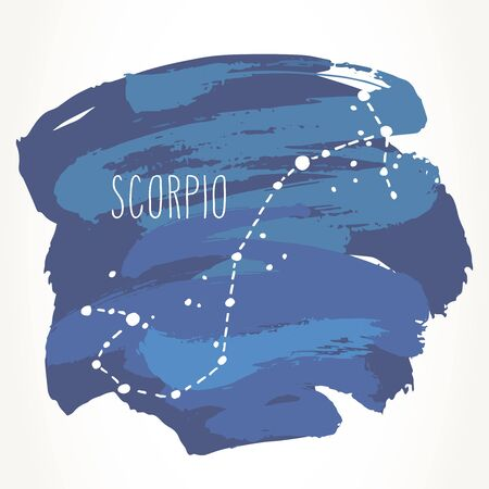 Scorpio hand drawn Zodiac sign constellation over blue paint strokes. Vector graphics astrology illustration. Western horoscope mystic symbol isolated over white.