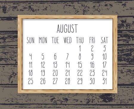 August year 2019 vector monthly calendar. Week starting from Sunday. Hand drawn text in a wooden frame over dark brown rustic distressed wood background. Ilustração