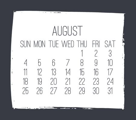 August year 2019 contemporary vector monthly calendar. Week starting from Sunday. Hand drawn square brush stroke white design over dark gray background.