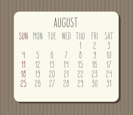 August year 2019 vector monthly calendar. Week starting from Sunday. Vintage brown stripes design.