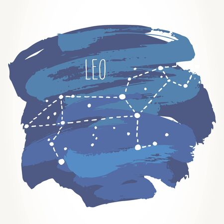 Leo hand drawn Zodiac sign constellation over blue paint strokes. Vector graphics astrology illustration. Western horoscope mystic symbol isolated over white. Ilustração