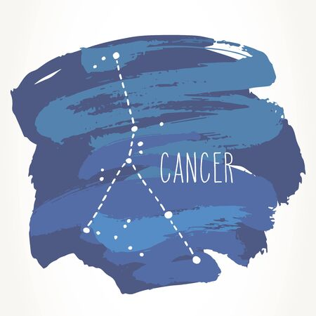 Cancer hand drawn Zodiac sign constellation over blue paint strokes. Vector graphics astrology illustration. Western horoscope mystic symbol isolated over white.