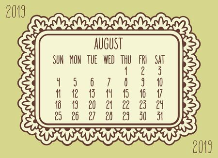 August year 2019 plain contemporary vector monthly calendar. Week starting from Sunday. Ornate brown frame design over pastel yellow green background.