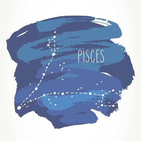 Pisces hand drawn Zodiac sign constellation over blue paint strokes. Vector graphics astrology illustration. Western horoscope mystic symbol isolated over white. Ilustração
