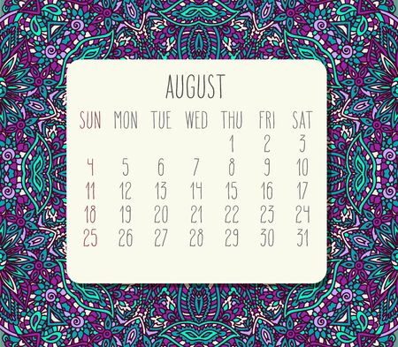 August year 2019 vector monthly calendar over teal and purple doodle ornate hand drawn background, week starting from Sunday. Ilustração