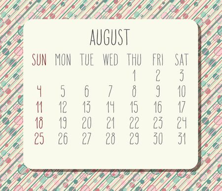 August year 2019 vector monthly calendar. Week starting from Sunday. Funky dots and stripes background.