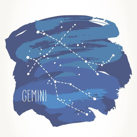 Gemini hand drawn Zodiac sign constellation over blue paint strokes. Vector graphics astrology illustration. Western horoscope mystic symbol isolated over white.