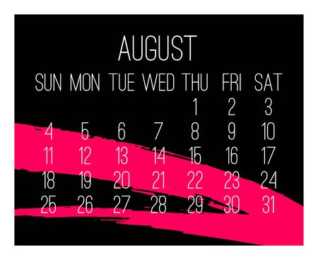 August year 2019 vector monthly modern calendar. Week starting from Sunday. Contemporary hand drawn freeform brush stroke frame design in hot pink and black.