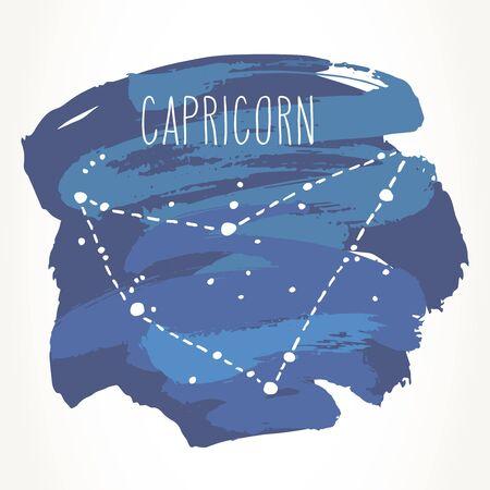 Capricorn hand drawn Zodiac sign constellation over blue paint strokes. Vector graphics astrology illustration. Western horoscope mystic symbol isolated over white. Ilustração
