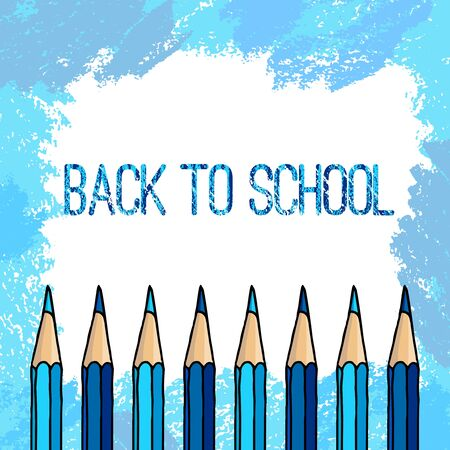 Hand drawn vector Back to School words and crayon pencils row over freeform blue hatch strokes frame over white background. Vector Illustratie