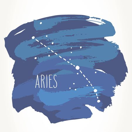 Aries hand drawn Zodiac sign constellation over blue paint strokes. Vector graphics astrology illustration. Western horoscope mystic symbol isolated over white.