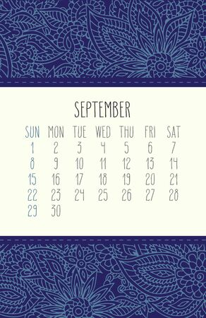 September year 2019 vector monthly calendar over blue lacy doodle ornate hand drawn background, week starting from Sunday. Illustration