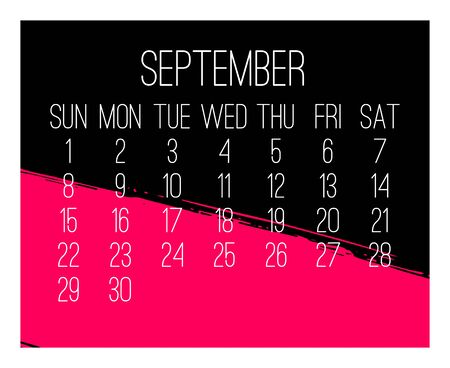 September year 2019 vector monthly modern calendar. Week starting from Sunday. Contemporary hand drawn freeform brush stroke frame design in hot pink and black.