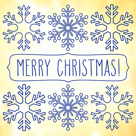 Blue snowflakes over square abstract smooth blur background with hand Christmas greetings in a frame.