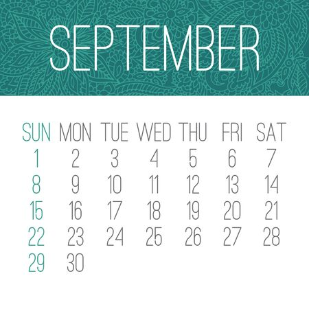 September year 2019 vector monthly calendar with doodle ornate hand drawn backdrop, week starting from Sunday. White and teal green design.