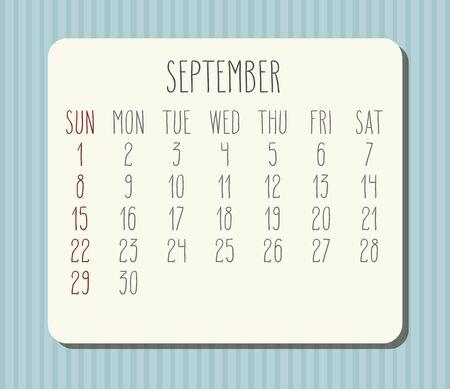 September year 2019 vector monthly calendar. Week starting from Sunday. Light blue stripes desight.