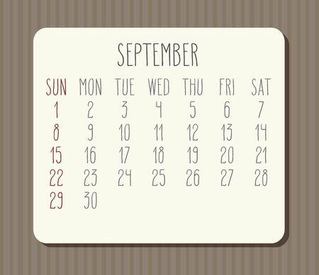 September year 2019 vector monthly calendar. Week starting from Sunday. Vintage brown stripes design. Illustration