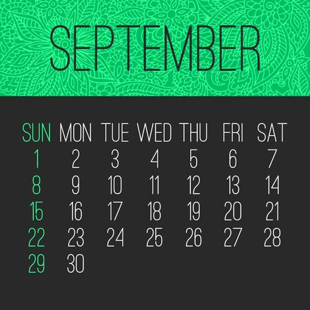 September year 2019 vector monthly calendar over doodle ornate hand drawn florals, week starting from Sunday. Bright green and black design.