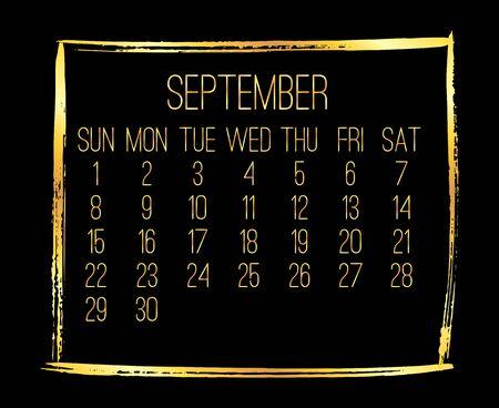 September year 2019 vector monthly modern calendar. Week starting from Sunday. Contemporary golden brush stroke frame design. Black background.