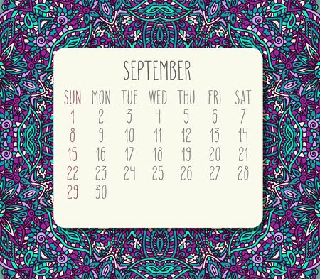 September year 2019 vector monthly calendar over teal and purple doodle ornate hand drawn background, week starting from Sunday.