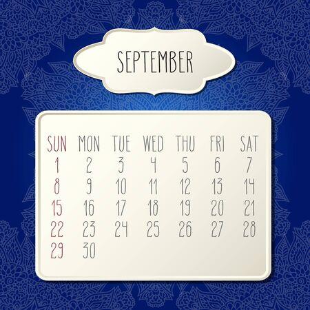 September year 2019 vector monthly calendar over dark blue doodle ornate hand drawn floral background, week starting from Sunday. Beige beveled frames design. Illustration