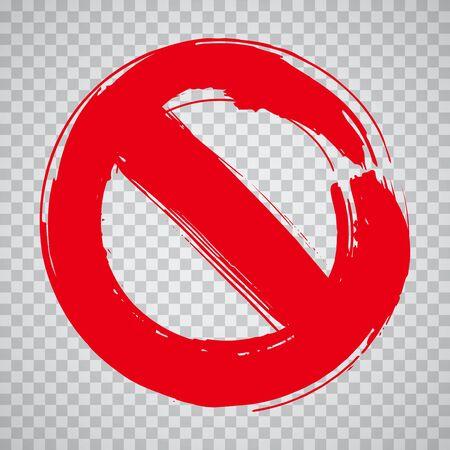 Stop sign hand drawn design element. Prohibition no symbol, warning. Vector illustration in red over transparent background.