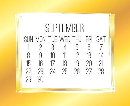 September year 2019 vector monthly modern calendar. Week starting from Sunday. Contemporary wide golden brush stroke frame design.
