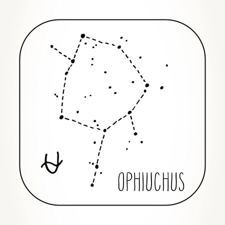 Ophiuchus hand drawn Zodiac sign constellation. Vector graphics astrology illustration. Western horoscope mystic symbol in black and white.