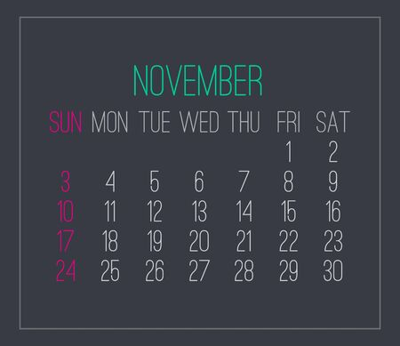 November year 2019 plain contemporary vector monthly calendar. Week starting from Sunday. Modern design over dark gray background.