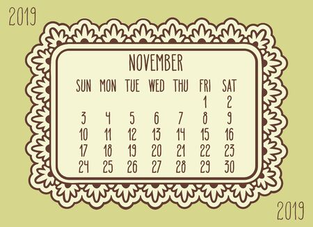 November year 2019 plain contemporary vector monthly calendar. Week starting from Sunday. Ornate brown frame design over pastel yellow green background.