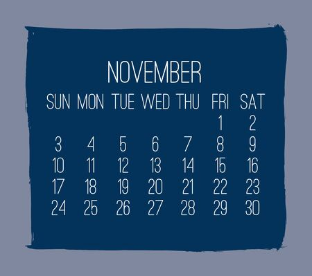 November year 2019 contemporary vector monthly calendar. Week starting from Sunday. Hand drawn square brush stroke dark blue design over grey background. Иллюстрация