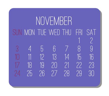 November year 2019 plain contemporary vector monthly calendar. Week starting from Sunday. Purple rectangle over white background.