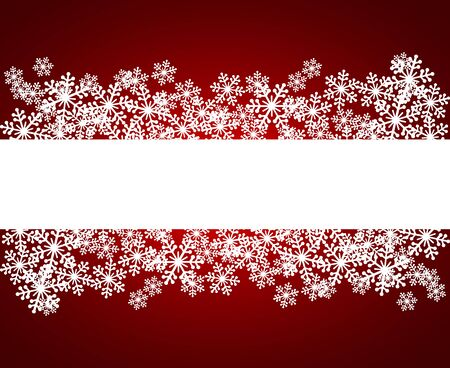 Christmas snowflakes blank frame vector illustration. Greeting card winter red background with copy space. Happy New Year. Horizontal format.