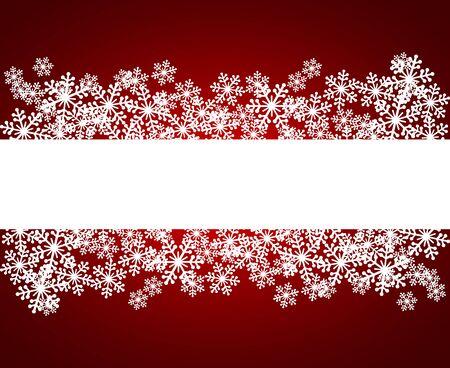 Ilustración de vector de marco en blanco de copos de nieve de Navidad. Tarjeta de felicitación de invierno fondo rojo con espacio de copia. Feliz Año Nuevo. Formato horizontal.