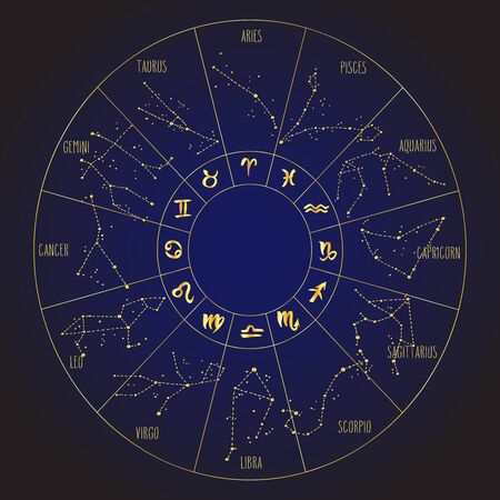 Hand drawn Zodiac signs constellations circle. Vector graphics astrology illustration. Western horoscope mystic symbol in golden over dark blue. Illustration