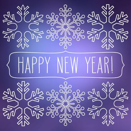White snowflakes over blue square abstract smooth blur background with hand written new year greetings in a frame.