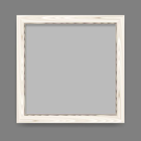 Realistic minimalistic square blank white wood frame over gray background. Wooden border vector illustration.