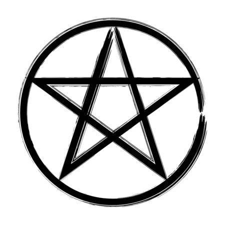 Pentagram in a circle icon, brush drawing magic occult star symbol. Vector hand drawn illustration in black isolated over white.