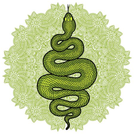 Coiled snake over floral mandala detailed illustration. Green tribal serpent isolated over white background. Vector tattoo design. Ilustração
